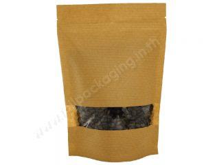 กระเป๋ากระดาษลายสีน้ำตาลพร้อมหน้าต่างสี่เหลี่ยมผืนผ้า